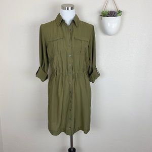 •MAEVE• Olive Button Front Long Sleeve Shirt Dress